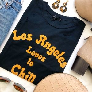 """""""LA Loves to Chill"""" Navy Distressed Graphic Tee"""